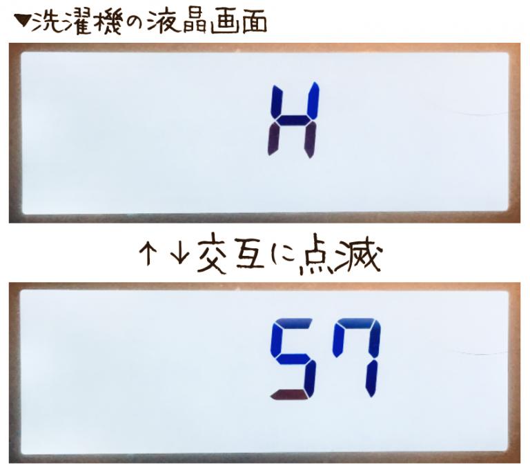 Panasonicドラム式洗濯乾燥機がH57エラーを起こしているときの表示